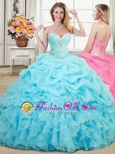 Designer Aqua Blue Lace Up Sweet 16 Quinceanera Dress Beading and Ruffles and Pick Ups Sleeveless Floor Length