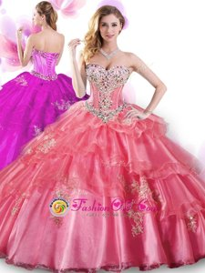 Sweetheart Sleeveless 15th Birthday Dress Floor Length Beading and Appliques Coral Red Organza
