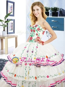 White Ball Gowns Organza and Taffeta Sweetheart Sleeveless Embroidery and Ruffled Layers Floor Length Lace Up Quinceanera Dresses
