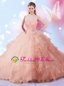 Floor Length Lace Up Quinceanera Dress Peach and In for Military Ball and Sweet 16 and Quinceanera with Beading and Ruffles