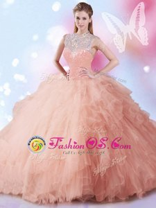 Peach Ball Gowns Tulle High-neck Sleeveless Beading and Ruffles and Sequins Floor Length Zipper 15th Birthday Dress