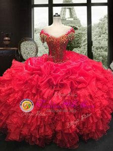 Organza Sweetheart Cap Sleeves Lace Up Beading and Ruffles Quinceanera Dresses in Red
