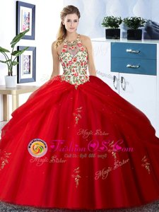 Halter Top Floor Length Lace Up Quince Ball Gowns Red and In for Military Ball and Sweet 16 and Quinceanera with Embroidery and Pick Ups