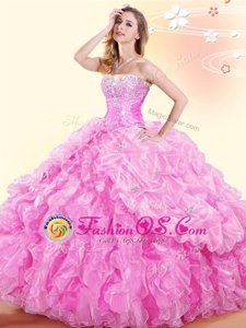 Sleeveless Beading and Ruffles and Pick Ups Lace Up Quinceanera Dresses