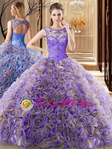 Unique Scoop Multi-color Sleeveless Fabric With Rolling Flowers Brush Train Lace Up Vestidos de Quinceanera for Military Ball and Sweet 16 and Quinceanera