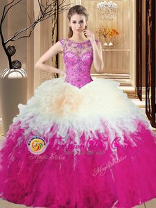 Most Popular Scoop Floor Length Lace Up Quince Ball Gowns Multi-color and In for Military Ball and Sweet 16 and Quinceanera with Beading