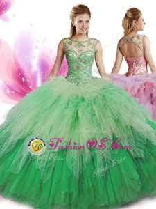 Multi-color Sweet 16 Dress Military Ball and Sweet 16 and Quinceanera and For with Beading and Ruffles Scoop Sleeveless Zipper
