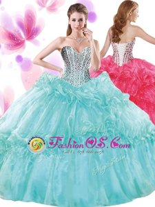 Perfect Turquoise Ball Gowns Beading and Pick Ups Quince Ball Gowns Lace Up Organza Sleeveless Floor Length