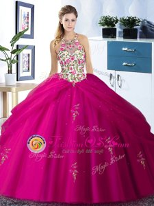 Halter Top Sleeveless Floor Length Embroidery and Pick Ups Lace Up Quince Ball Gowns with Fuchsia