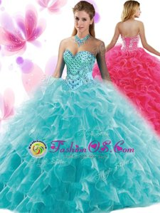 Ball Gowns Quinceanera Dress Teal Sweetheart Organza Sleeveless Floor Length Lace Up