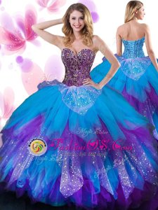 Hot Sale Multi-color Lace Up Sweetheart Beading and Ruffled Layers Quinceanera Gowns Tulle Sleeveless