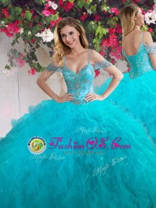 Dramatic Teal Sweet 16 Dress Military Ball and Sweet 16 and Quinceanera and For with Beading and Ruffles Off The Shoulder Sleeveless Lace Up