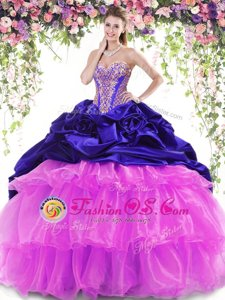 Multi-color Sleeveless With Train Beading and Ruffled Layers and Pick Ups Lace Up Quinceanera Dress