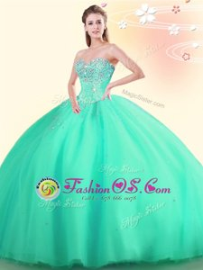 Latest Apple Green Sweetheart Neckline Beading Sweet 16 Quinceanera Dress Sleeveless Lace Up