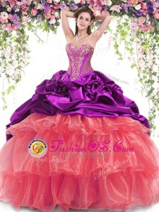 Simple With Train Multi-color Quinceanera Dresses Organza and Taffeta Brush Train Sleeveless Beading and Ruffled Layers and Pick Ups