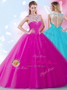 Scoop Fuchsia Zipper High-neck Beading and Sequins Sweet 16 Dress Tulle Sleeveless
