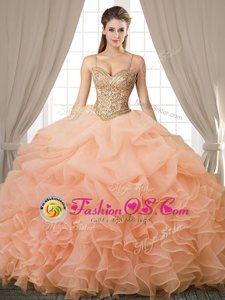 Spaghetti Straps Sleeveless Sweet 16 Quinceanera Dress Floor Length Beading and Ruffles and Pick Ups Peach Organza