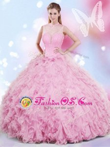 Halter Top Organza and Taffeta Sleeveless Floor Length 15th Birthday Dress and Embroidery and Ruffled Layers