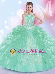 Glorious Halter Top Sleeveless Lace Up Sweet 16 Dress Apple Green Organza