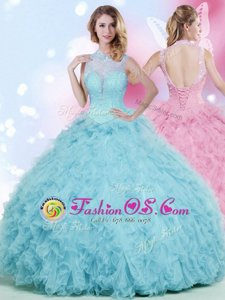 Customized Baby Blue Ball Gowns Beading and Ruffles 15th Birthday Dress Lace Up Tulle Sleeveless Floor Length