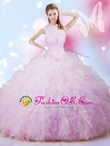Fashion Lavender Lace Up High-neck Beading and Ruffles Quinceanera Dresses Tulle Sleeveless