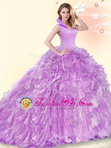 Backless Lilac Quinceanera Dress Organza Brush Train Sleeveless Beading and Ruffles