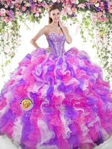 Stylish Halter Top Sleeveless Floor Length Beading and Ruffles and Pick Ups Lace Up Quince Ball Gowns with Multi-color
