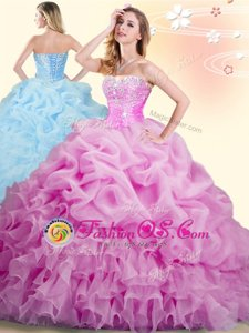 Flare Aqua Blue Ball Gowns Organza Sweetheart Sleeveless Beading and Ruffles Floor Length Lace Up Sweet 16 Dress