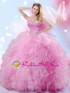 Attractive Floor Length Ball Gowns Sleeveless Rose Pink Vestidos de Quinceanera Lace Up
