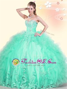 Multi-color Organza Lace Up Sweetheart Sleeveless Sweet 16 Dress Beading and Ruffles