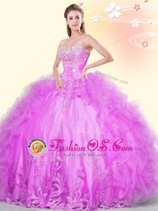 Lilac Ball Gowns Sweetheart Sleeveless Tulle Asymmetrical Lace Up Beading and Appliques and Ruffles Sweet 16 Dress