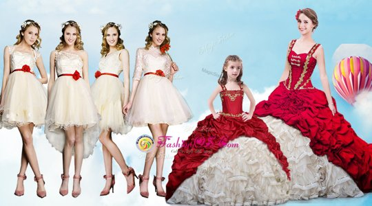 Attractive Straps White And Red Sleeveless With Train Beading and Ruffles and Pick Ups Lace Up Quinceanera Gowns