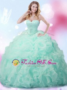 Apple Green Sleeveless Brush Train Beading and Ruffles and Pick Ups With Train Sweet 16 Dress