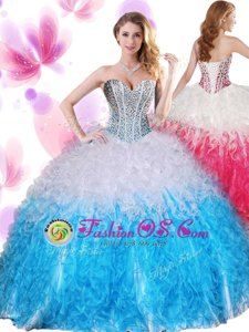 Sleeveless Beading and Ruffles Lace Up Quince Ball Gowns