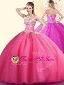 Hot Pink Sleeveless Floor Length Beading Lace Up Vestidos de Quinceanera