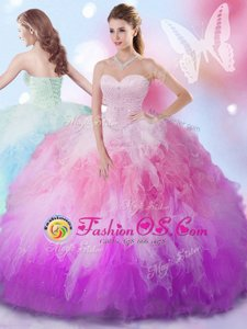 Multi-color Ball Gowns Sweetheart Sleeveless Tulle Floor Length Lace Up Beading and Ruffles Quinceanera Dresses