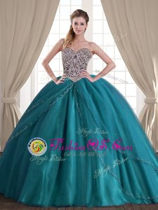 Vintage Sleeveless Brush Train Lace Up With Train Beading Quinceanera Gown