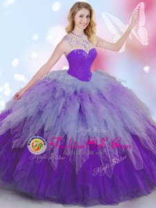 Multi-color Sleeveless Tulle Zipper Sweet 16 Dresses for Military Ball and Sweet 16 and Quinceanera