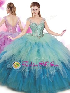 Beauteous Floor Length Multi-color Sweet 16 Quinceanera Dress High-neck Sleeveless Lace Up