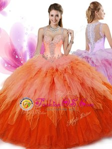 Floor Length Zipper Quinceanera Gown Multi-color and In for Military Ball and Sweet 16 and Quinceanera with Beading and Ruffles