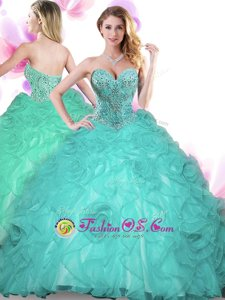 Sleeveless Floor Length Beading Lace Up Quince Ball Gowns with Turquoise