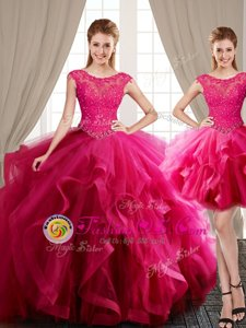Sexy Three Piece Scoop Hot Pink Ball Gowns Beading and Appliques and Ruffles Ball Gown Prom Dress Lace Up Tulle Cap Sleeves With Train