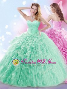 Super Apple Green Sleeveless With Train Beading and Ruffles Lace Up Quinceanera Dress