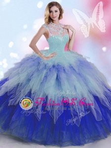 High-neck Sleeveless Quinceanera Gown Floor Length Beading and Ruffles Multi-color Tulle