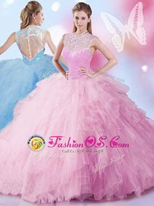 Colorful Baby Pink High-neck Zipper Beading and Ruffles and Sequins Quinceanera Dresses Sleeveless
