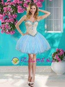Stunning Baby Blue Sweetheart Neckline Beading and Ruffles Sleeveless Lace Up