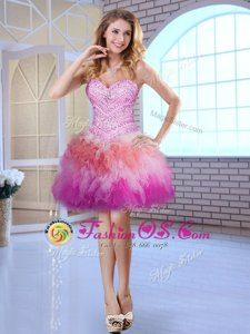 High Class Multi-color Ball Gowns Beading Dress for Prom Lace Up Tulle Sleeveless Mini Length