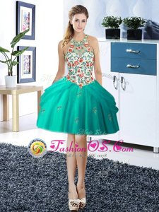 Top Selling Halter Top Sleeveless Tulle Mini Length Lace Up Prom Dress in Turquoise for with Embroidery and Pick Ups