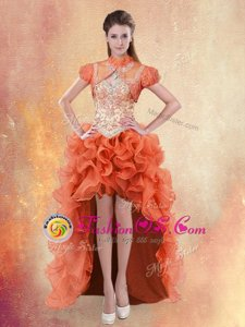 Free and Easy Straps High Low Lace Up Orange Red and In for Prom and Party with Beading and Ruffles
