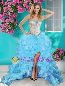 Classical Baby Blue Ball Gowns Beading and Ruffles Evening Dress Lace Up Organza Sleeveless High Low